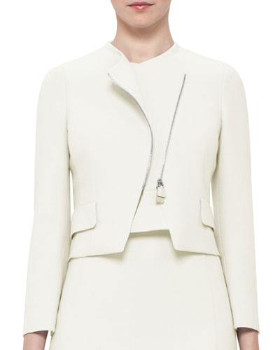 Faramond Cropped Asymmetric Zip Jacket, Pelican