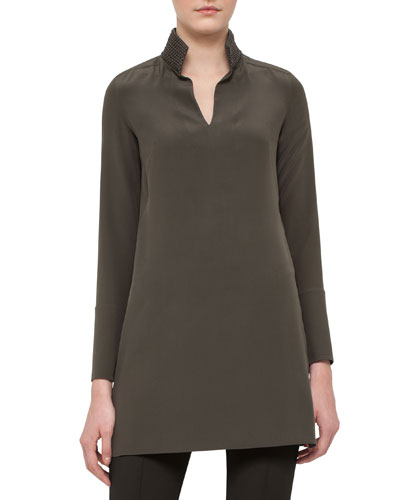 Leather-Trim Silk Shantung Tunic, Turtle