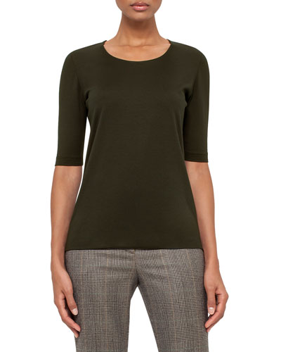 Half-Sleeve Silk Jersey Top, Turtle