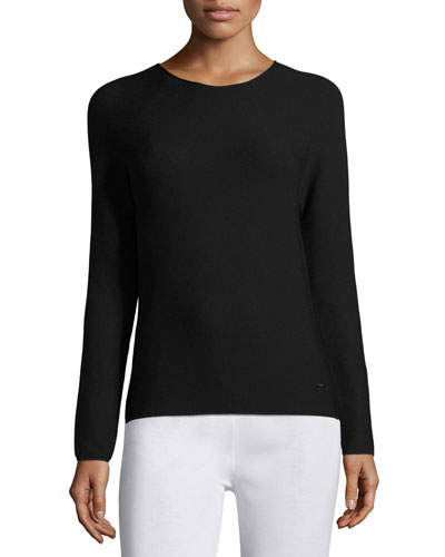 Long-Sleeve Knit Top, Black