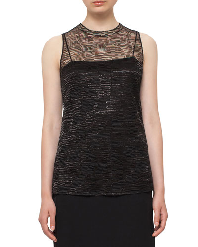 Sleeveless Lace Top, Black