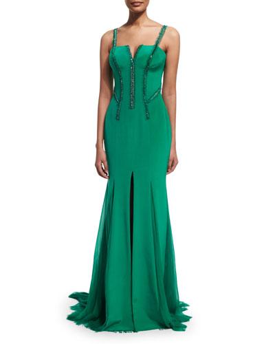 Sleeveless Silk Cady Gown w/Georgette Train, Emerald