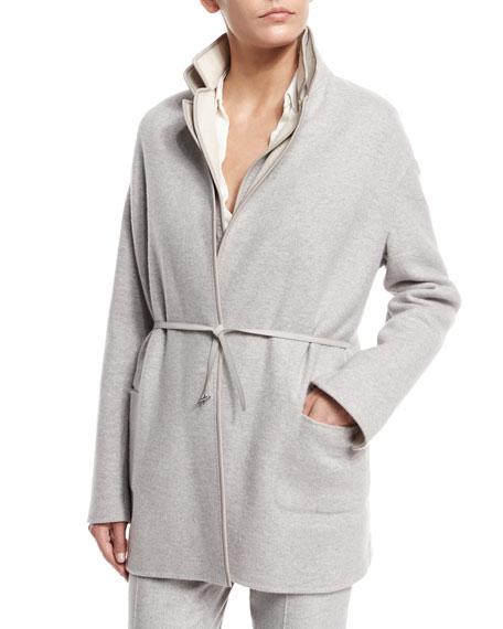 Jimi Open-Front Reversible Coat, Sirio/Tapioca