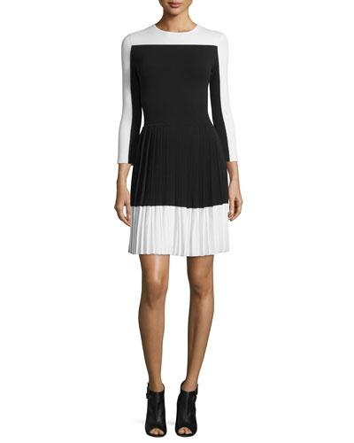 3/4-Sleeve Pleated-Skirt Dress, Black/White