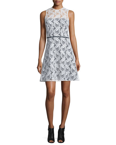 Sleeveless Sheer-Yoke Lace A-Line Dress, Ivory