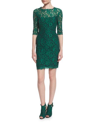 Half-Sleeve Corded Lace Dress, Emerald