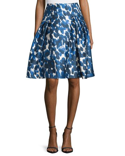 Petal-Print Mikado Party Skirt, Cobalt
