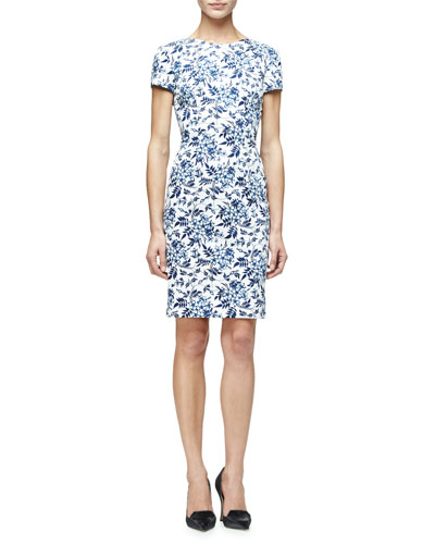 Short-Sleeve Floral-Print Sheath Dress, Blue Floral