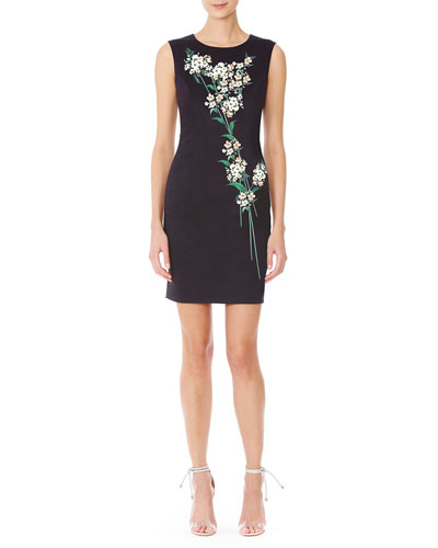 Sleeveless Jasmine-Print Sheath Dress, Black/Green