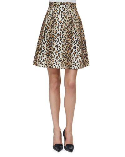 Cheetah-Print Stretch-Cotton Party Skirt