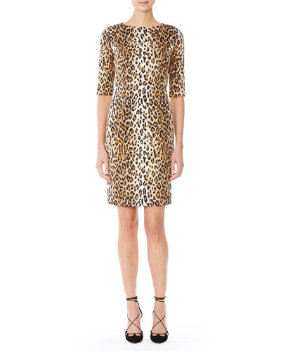Cheetah-Print Half-Sleeve Sheath Dress, Black/Camel