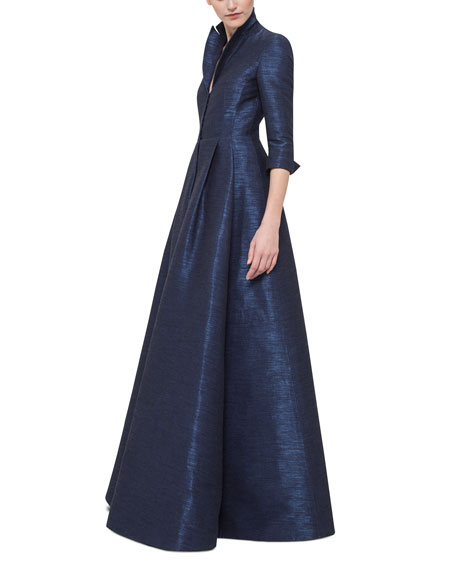 Metallic 3/4-Sleeve Trench Gown, Navy