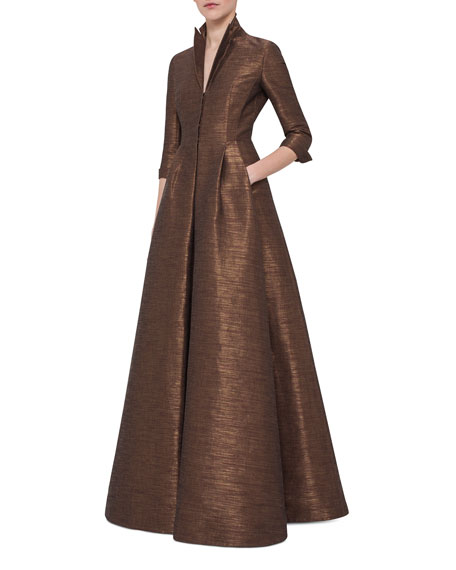 Metallic 3/4-Sleeve Trench Gown, Brown