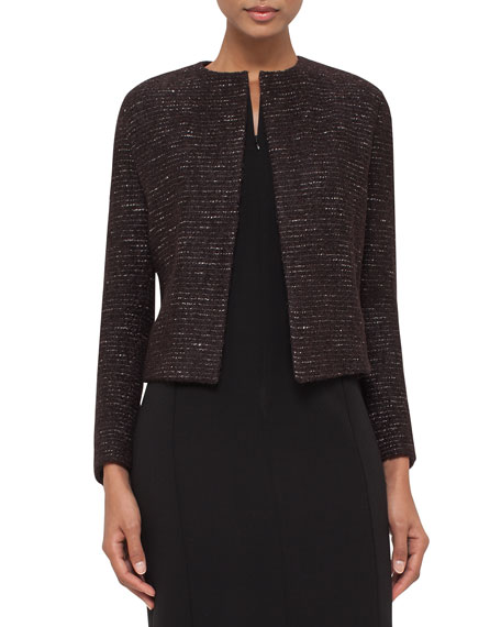 Metallic Boxy Tweed Jacket, Brown