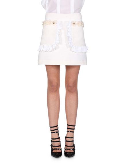 Flowerland Ruffled Mini Skirt, Milk White