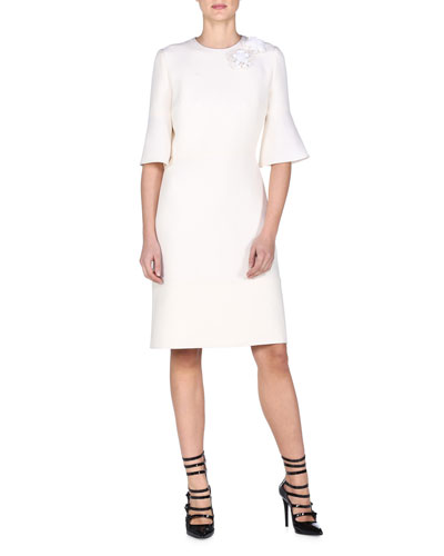 Trumpet-Sleeve Dress W/Floral Appliqué, Milk White