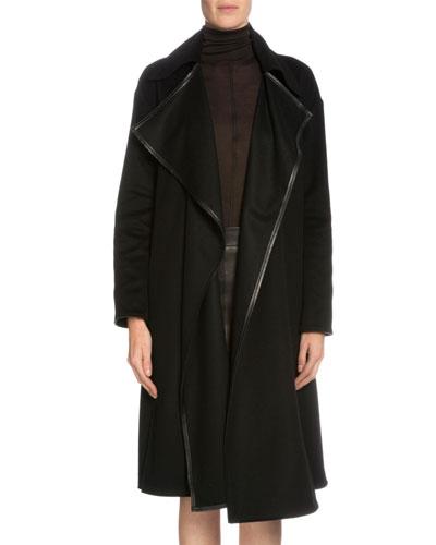 Leather-Trimmed Cashmere Coat, Black