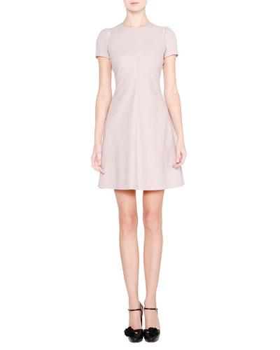 Short-Sleeve Pleated-Back Dress