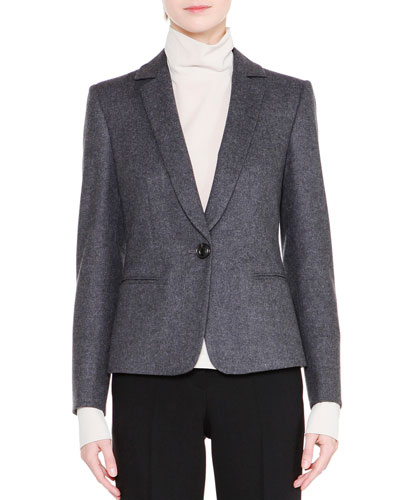 Classic One-Button Jacket, Gray