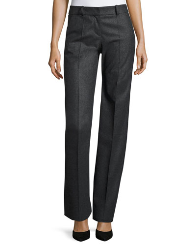 Straight-Leg Wool/Cashmere Pants, Gray