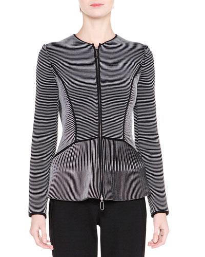 Striped Zip-Front Peplum Jacket, Black