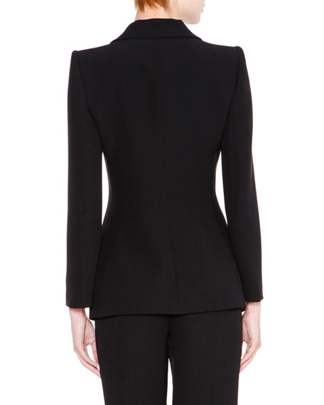 Clean Front Silk Jacket, Black