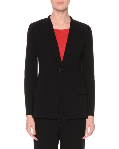Classic Wool Two-Pocket Jacket, Black
