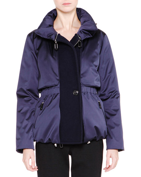 Long-Sleeve Cinched-Waist Jacket, Navy/Black