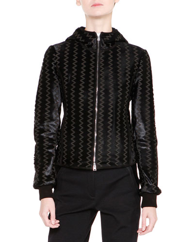 Chevron Calf-Hair & Leather Jacket, Black
