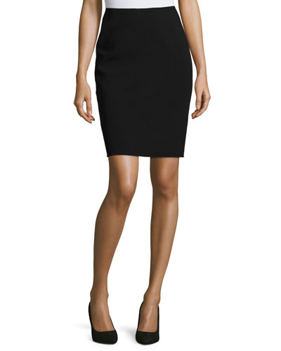 Classic Wool-Blend Pencil Skirt, Black