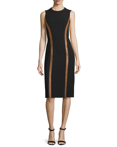 Sleeveless Wool Dress w/Contrast Leather Trim, Black