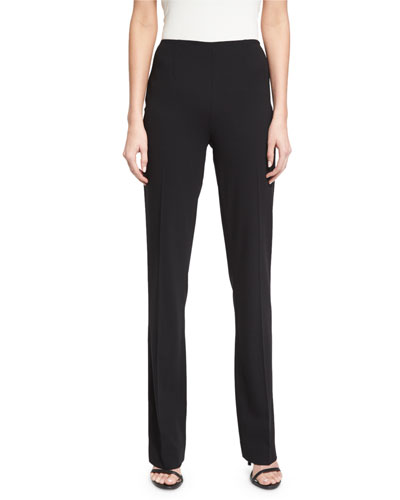 Alandra Side-Zip Stretch-Wool Pants Black