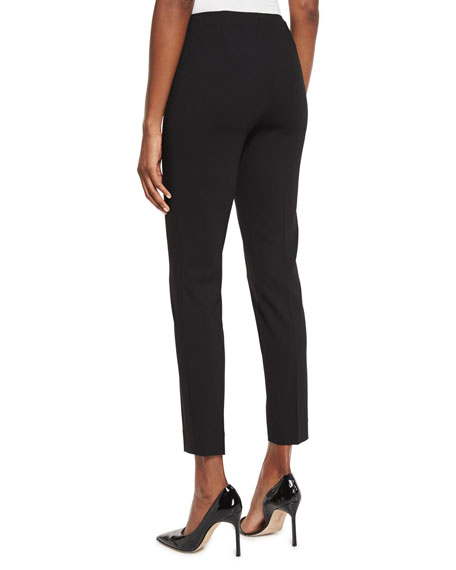 Annie Cropped Wool Crepe Pants, Black