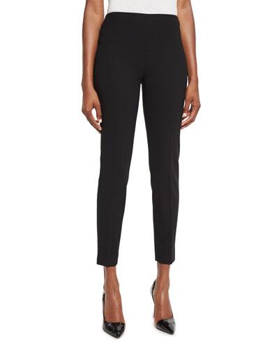 Annie Cropped Wool Crepe Pants Black
