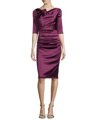 Gosling 3/4-Sleeve Ruched Satin Dress, Wine