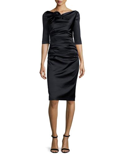 Gosling 3/4-Sleeve Ruched Satin Dress, Black