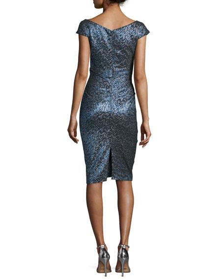 Kortney Iridescent Cap-Sleeve Dress, Navy