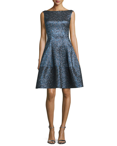 Golo Iridescent Fit-and-Flare Dress, Navy