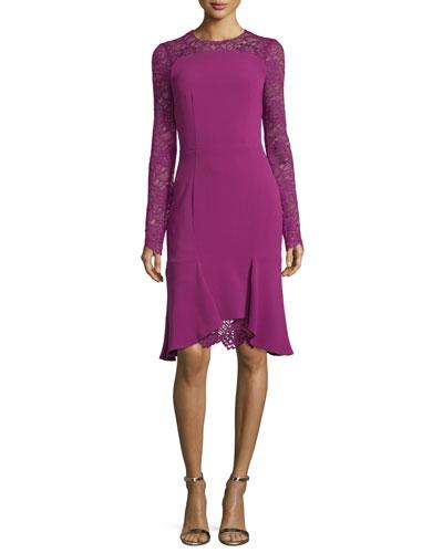 Losada Long-Sleeve Lace & Crepe Dress Dress, Pink