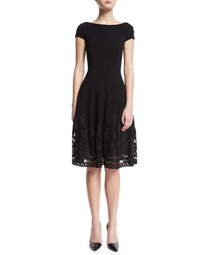Loconia Cap-Sleeve Lace-Hem Dress, Black
