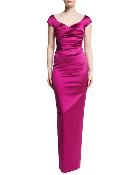 Kortney Satin Cap-Sleeve Gown, Pink