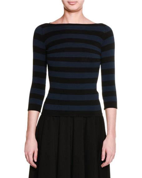 Striped 3/4-Sleeve Boat-Neck Top, Black/Navy