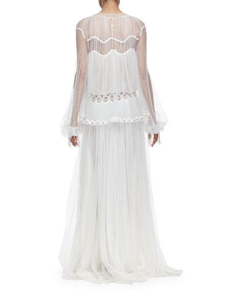 Herringbone Lace Long-Sleeve Gown, White