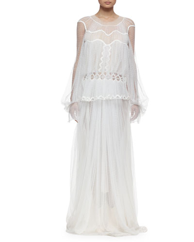 Herringbone Lace Long-Sleeve Gown, White