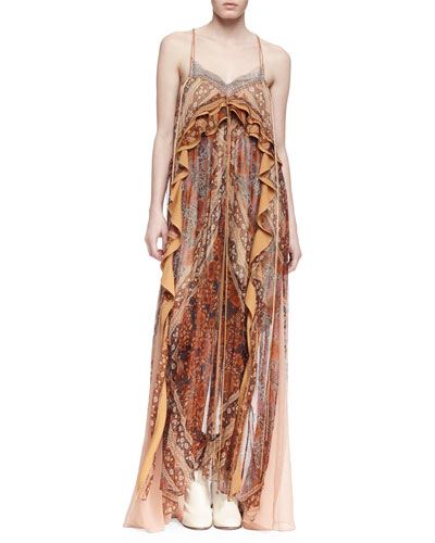 Sleeveless Paisley-Print Silk Gown, Spice