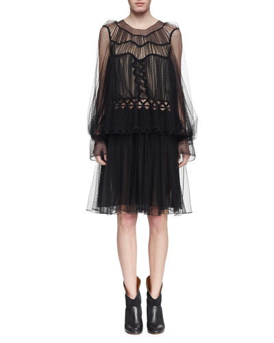Herringbone Lace Long-Sleeve Dress, Black