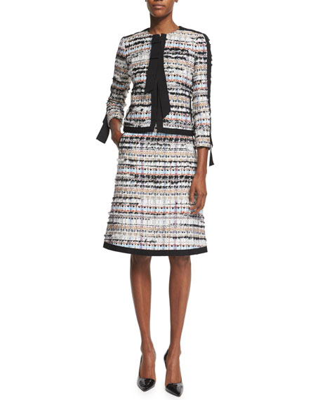 Ribbon-Edged Tweed A-Line Skirt, Camel