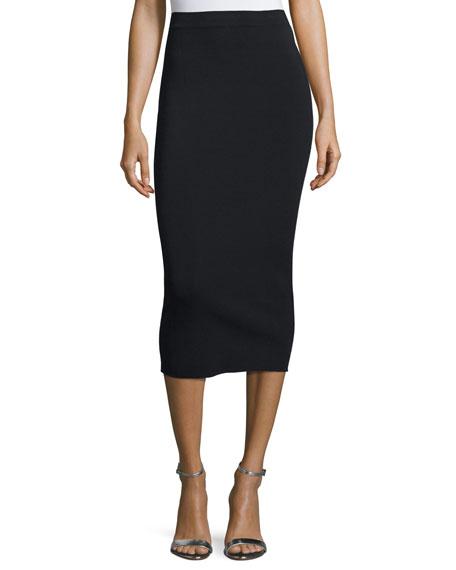 Stretch-Jersey Pencil Skirt, Black