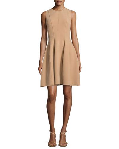 Stretch-Wool Bell-Skirt Dress, Suntan