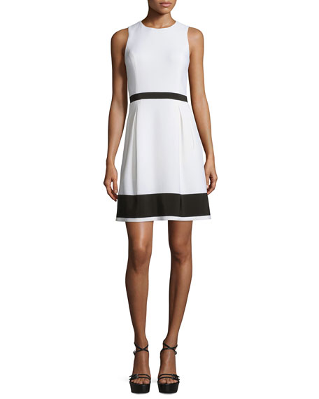 Michael Kors Sleeveless Colorblock Stretch-Crepe Dress, White